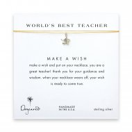 world's best teacher star necklace on gold, sterling silver