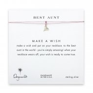 best aunt happy heart necklace on lavender, sterling silver
