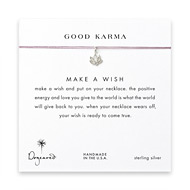 good karma lotus necklace on lavender, sterling silver