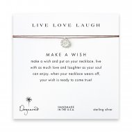 live love laugh daisy necklace on tobacco, sterling silver