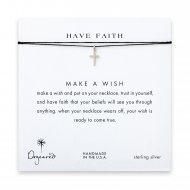 have faith simple cross necklace on black, sterling silver