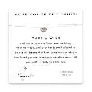 here comes the bride make a wish necklace with sterling silver lotus flower on creme