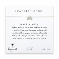 guardian angel, angel wings necklace on creme, sterling silver