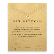 bat mitzvah loving heart necklace, gold dipped