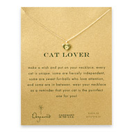 cat lover best friend heart necklace, gold dipped