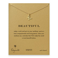 beautiful butterfly necklace, gold dipped