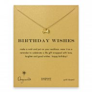 birthday wishes ribbon bow necklace, gold dipped