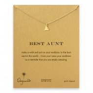 best aunt happy heart necklace, gold dipped