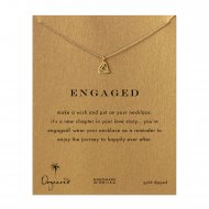 engaged big diamond necklace, gold dipped