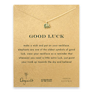 good luck elephant necklace, gold dipped