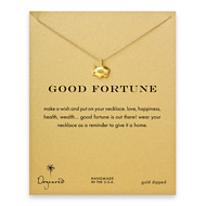 good fortune piggy bank necklace, gold dipped