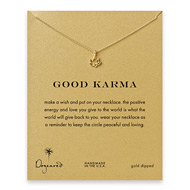 good karma lotus necklace, gold dipped