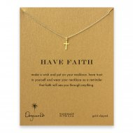 have faith simple cross necklace, gold dipped
