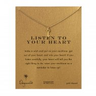 listen to your heart key necklace, gold dipped