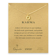 karma reminder necklace with gold dipped sunny