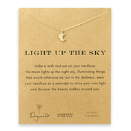light up the sky moon glow necklace, gold dipped