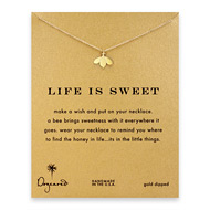 life is sweet honey bee necklace, gold dipped
