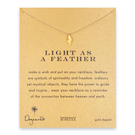 light as a feather, feather necklace, gold dipped