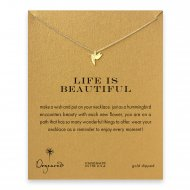 life is beautiful hummingbird necklace, gold dipped