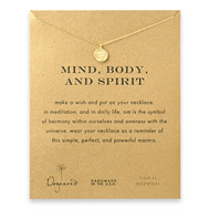 mind body and spirit om symbol necklace, gold dipped