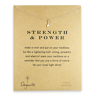 strength and power lightning bolt necklace, gold dipped