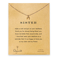 sister wishbone necklace, gold dipped