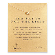 the sky is not the limit reminder necklace with gold dipped airplane