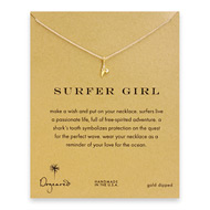 surfer girl shark tooth necklace, gold dipped