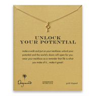 unlock your potential key necklace, gold dipped