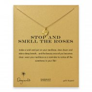 stop and smell the roses, rose necklace, gold dipped