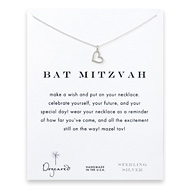 bat mitzvah loving heart necklace, sterling silver