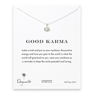 good karma lotus necklace, sterling silver
