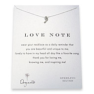 love note reminder necklace with sterling silver music note