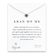 lean on me reminder necklace with sterling silver tree