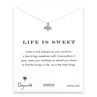 life is sweet honey bee necklace, sterling silver