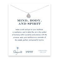 mind body and spirit om symbol necklace, sterling silver
