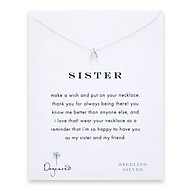 sister wishbone necklace, sterling silver