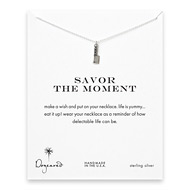 savor the moment reminder necklace with sterling silver chef's knife