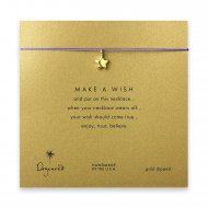 make a wish full star necklace on purple, gold dipped