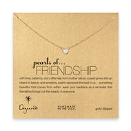 pearls of friendship white pearl necklace, gold dipped