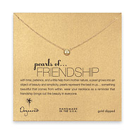 pearls of friendship gold pearl necklace, gold dipped