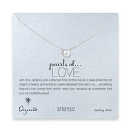 large pearls of love sterling silver necklace with white pearl -18 inch