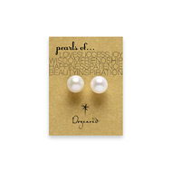 white pearl stud earrings, gold dipped
