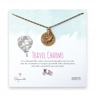 travel charms necklace, brass -24 inches