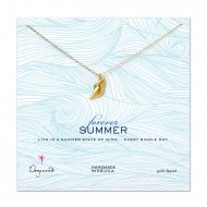 forever summer conch shell necklace, gold dipped