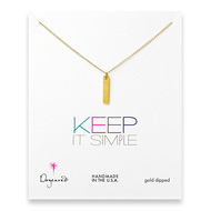 keep it simple gold dipped long bar necklace