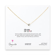 dream of love necklace with sterling silver heart, gold dipped