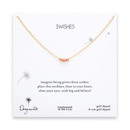 3 wishes rose gold dipped stardust bead necklace on gold dipped chain