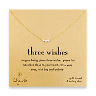 three wishes silver stardust bead necklace on gold dipped chain