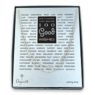 100 good wishes beaded necklace, sterling silver